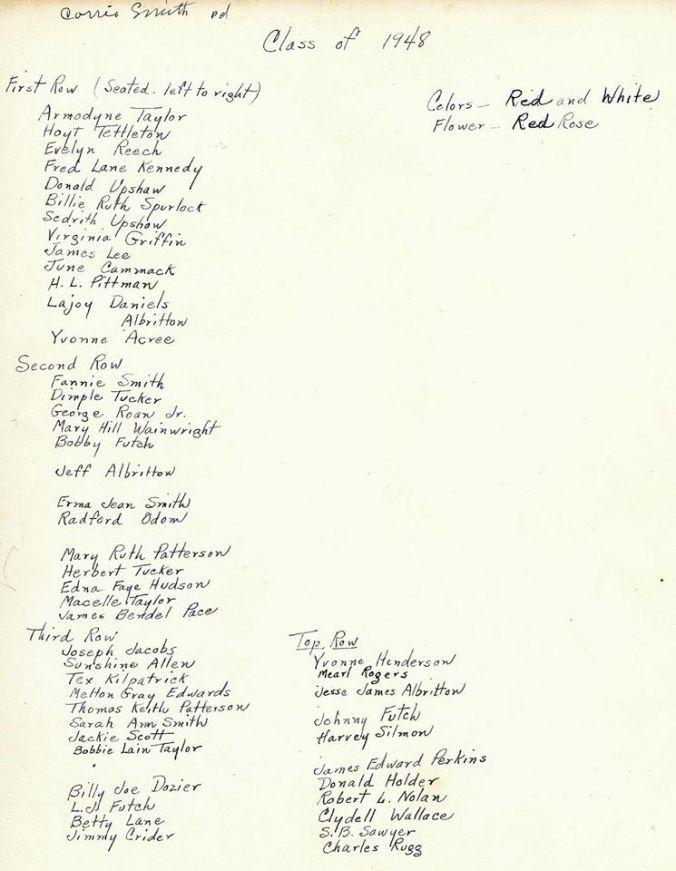 1948 Farmerville High School Graduates 2