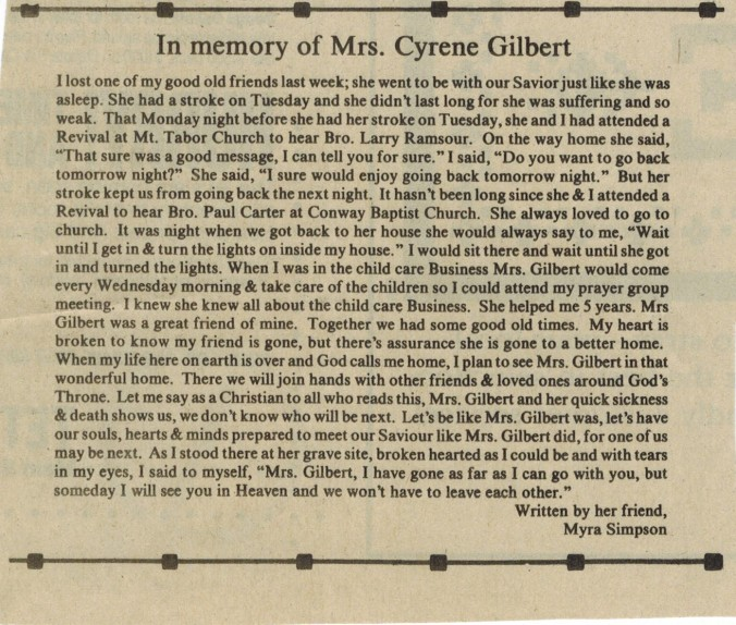 In Memory of Mrs. Cyrene Gilbert