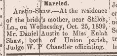 Austin-Shaw Marriage