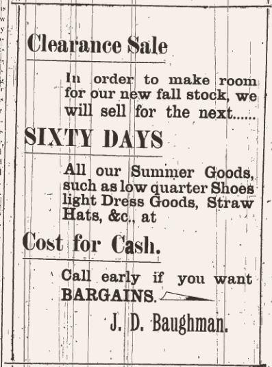 Baughman Clearance Sale Ad