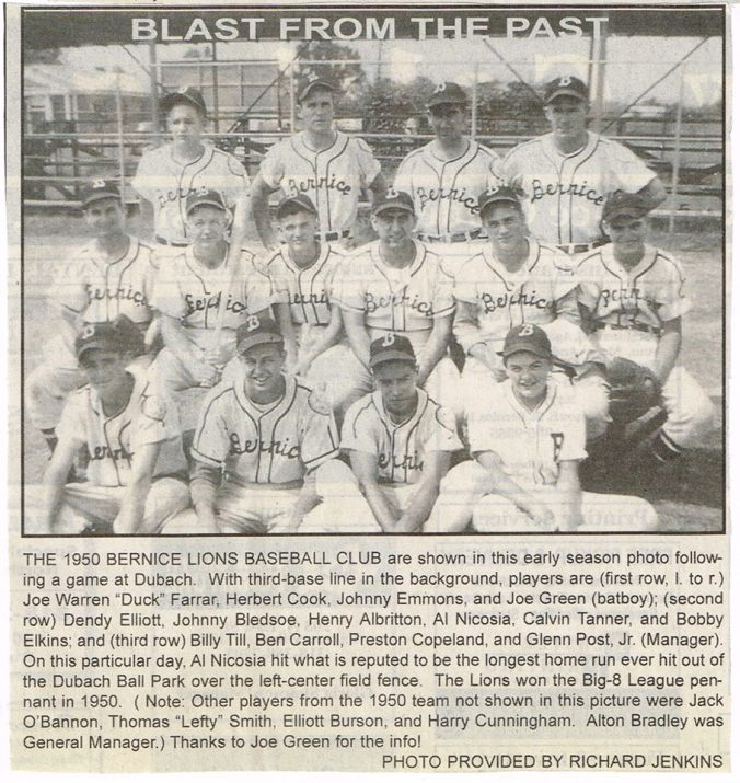 Bernice 1950 Lions Baseball Club