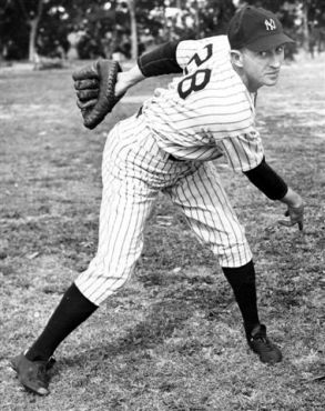 Posed pitching of New York Yankees Atley Donald, 1942