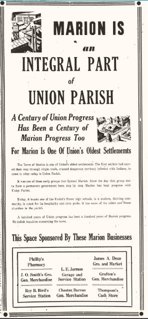 Marion is an Integral Part of Union Parish